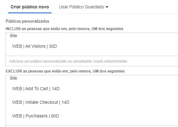 Sobreposição de Públicos no Facebook Ads - Exclusões