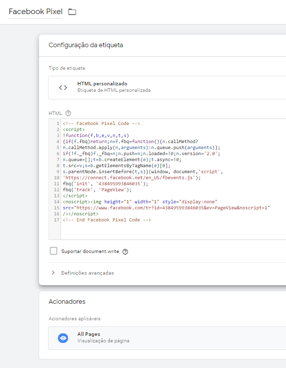 Como Instalar o Facebook Pixel via Google Tag Manager